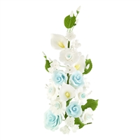 Gum Paste Rose And Calla Lily Spray - Blue