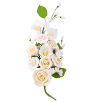 Gum Paste Rose And Calla Lily Spray - Ivory