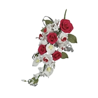Gum Paste Rose And Calla Lily Spray - Red