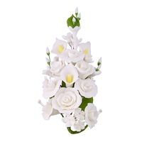 Gum Paste Rose And Calla Lily Spray - White