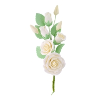 Gum Paste Rose And Rosebud Corsage - Ivory