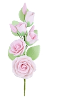 Gum Paste Rose And Rosebud Corsage - Pink
