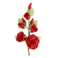 Gum Paste Rose And Rosebud Corsage - Red