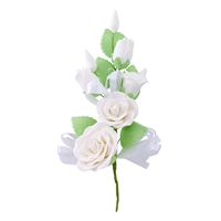 Gum Paste Rose And Rosebud Corsage - White