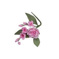 Gum Paste Rose And Stephanotis Spray - Pink