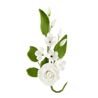 Gum Paste Rose And Stephanotis Spray - White