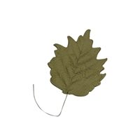 Large Gum Paste Sunflower Leaf On A Wire - Moss Green