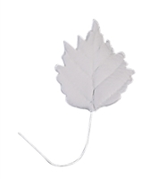 Large Gum Paste Sunflower Leaf On A Wire - White