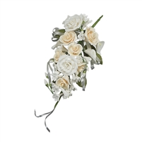 Gum Paste Tea Rose And Calla Lily Spray - Ivory