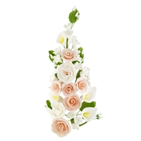 Gum Paste Tea Rose And Calla Lily Spray - Peach