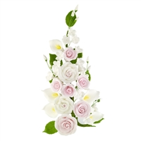 Gum Paste Tea Rose And Calla Lily Spray - Pink