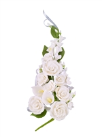 Gum Paste Tea Rose And Calla Lily Spray - White