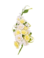 Gum Paste Tea Rose And Calla Lily Spray - Yellow