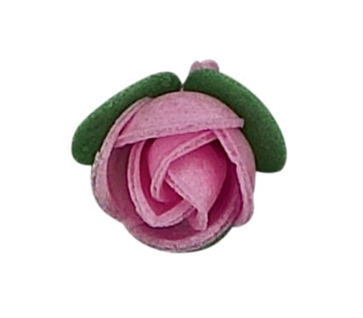 Wafer Rosebud with Green Calyx - Pink