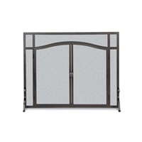 Pilgrim Forged Iron Door Fireplace Screen Matte Black (18441)