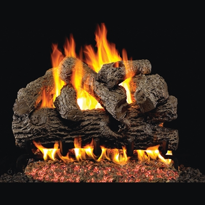 Real Fyre Royal English Oak 18-in Gas Logs with Burner Kit Options
