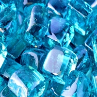 Fire Glass Plus Cubed Caribbean Blue Reflective Fire Glass 10-Lb