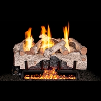Real Fyre Charred Alpine 24-in Logs with Vent-Free Burner Kit