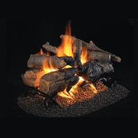 Real Fyre Charred American Oak See-Thru 24-in Logs with Burner Kit Options