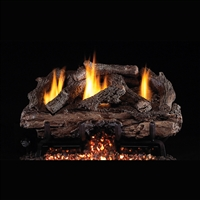 Real Fyre Charred Aged Split 24-in Logs with Vent-Free G10 Burner Kit