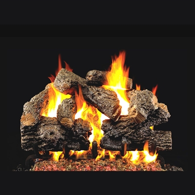 Real Fyre Charred Royal English Oak 24-in Logs with Burner Kit Options