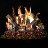Real Fyre Charred Oak Stack Gas Logs 18/20-in with Burner Kit Options