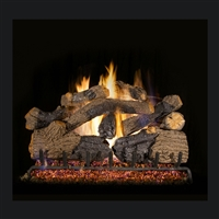 Real Fyre Charred Grizzly Oak 24-in Gas Logs with Burner Kit Options