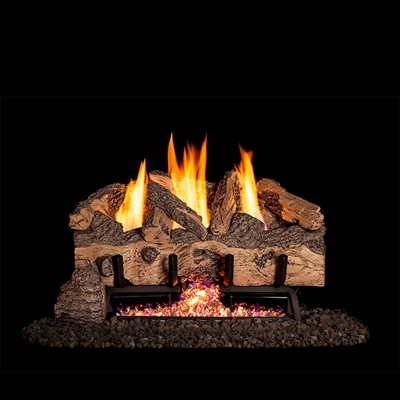 Real Fyre Charred Gnarled Split 24-in Logs with Vent-Free G10 Burner Kit