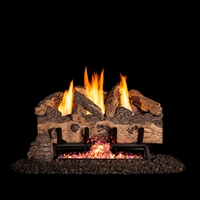 Real Fyre Charred Gnarled Split 30-in Logs with Vent-Free G10 Burner Kit
