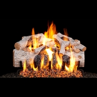 Real Fyre Charred Mountain Birch 18-in Gas Logs with Burner Kit Options