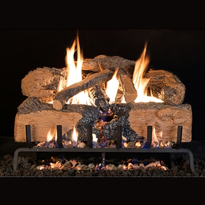 Real Fyre Charred Angel Split Oak 30-in Logs with Burner Kit Options