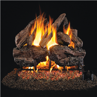 Real Fyre Charred Red Oak Gas Log 24-in with Burner Options