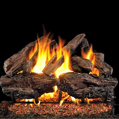 Real Fyre Charred Red Oak 30-in Logs and Burner Kits
