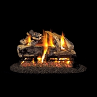 Real Fyre Charred Rugged Split Oak 24-in Gas Logs with Burner Kit Options