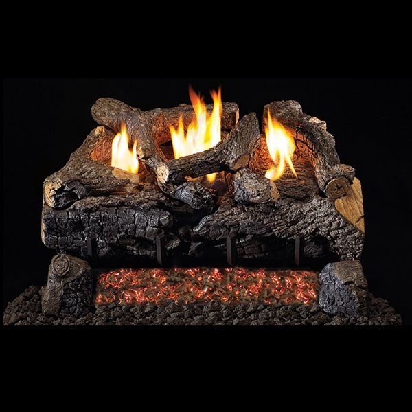 Real Fyre Evening Fyre Charred See-Thru Vent Free Gas Logs 24-in with G18 Burner Options
