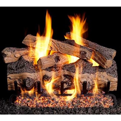 Real Fyre Gnarled Split Oak 24-in Gas Log with Burner Kit Options