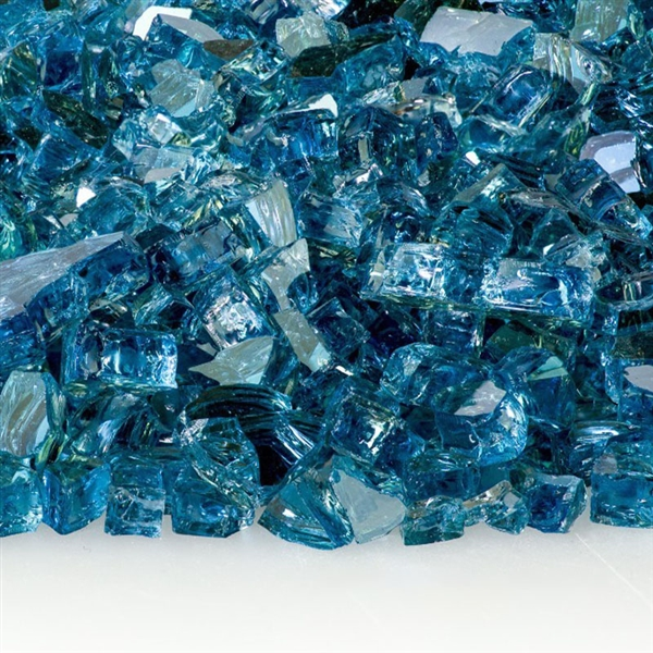 Fire Glass Plus 1/2-IN Blue Lagoon Reflective Fire Glass 10-Lb