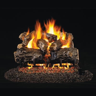 Real Fyre Burnt Rustic Oak 24-in Logs with Burner Kit Options