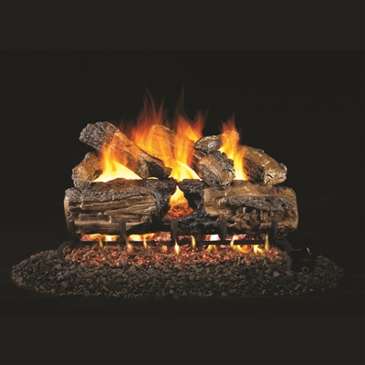 Real Fyre Burnt Split Oak 24-in Gas Logs with Burner Kit Options