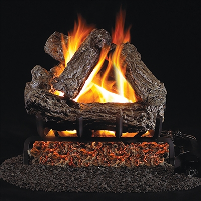 Real Fyre Rustic Oak 24-in Gas Logs with Burner Kit Options