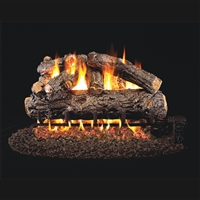 Real Fyre Rustic Oak Designer 18-in Gas Logs with Burner Kit Options
