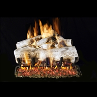 Real Fyre Mountain White Birch 18-in Gas Logs with Burner Kit Options