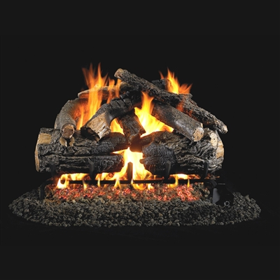 Real Fyre Pioneer Oak 36-in Gas Logs with Burner Kit Options