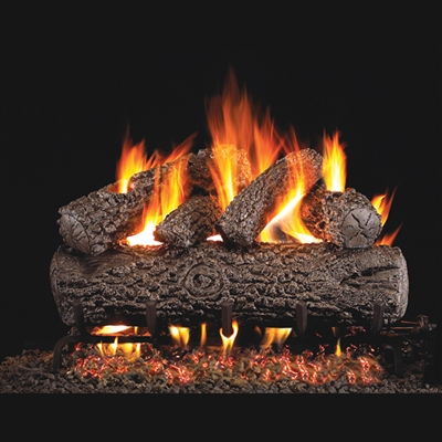 Real Fyre Post Oak 30-in Gas Logs with Burner Kit Options