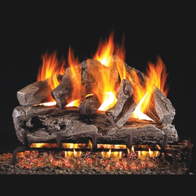 Real Fyre Rugged Oak 24-in Gas Logs with Burner Kit Options