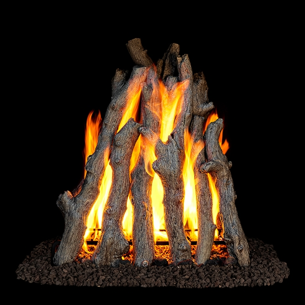 Real Fyre Rural Aged Oak Rumford Style 18/20-in Gas Logs With GR47 Burner Kit Options