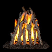 Real Fyre Rural Aged Oak Rumford Style 24/30-in Gas Logs With GR47 Burner Kit Options