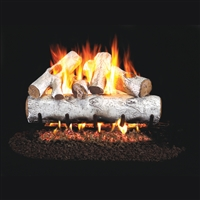 Real Fyre White Birch 18-in Gas Logs with Burner Kit Options