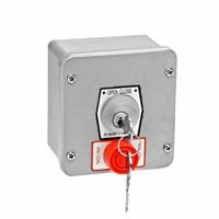 1KXS NEMA 4 Exterior Tamperproof OPEN-CLOSE Key Switch with Stop Button Surface Mount