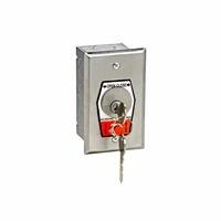 HBFSX Exterior OPEN-CLOSE Key Switch with Stop Button in Single Gang Back Box Flush Mount